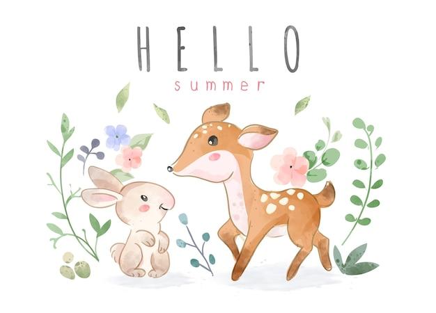 Animais fofos amigos com ilustração colorida de folhas e flores