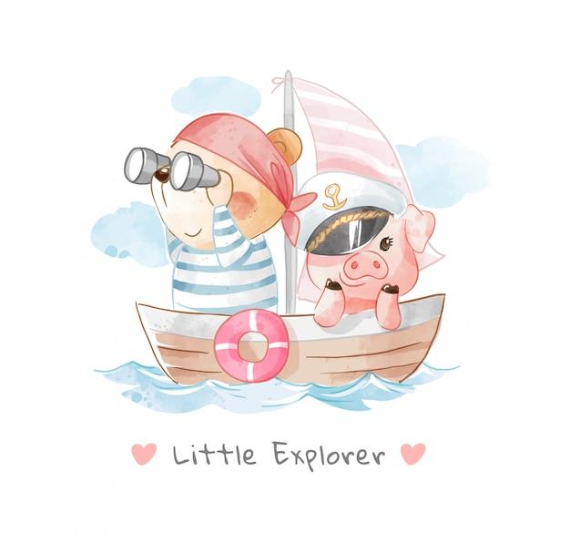 Animais fofos amigos na ilustração de barco à vela de madeira