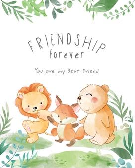 Animais fofos amizade caminhando ilustração
