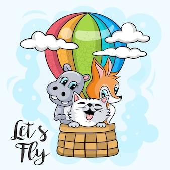 Animais fofos andam num balão de ar quente