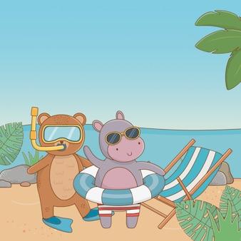 Animais fofos, aproveitando as férias de verão