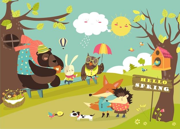 Animais fofos caminhando na floresta de primavera