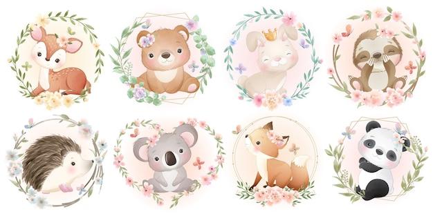 Animais fofos com coleção floral