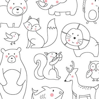 Animais fofos com estilo de linha / coleção de vetores de desenhos animados