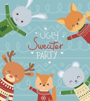 Animais fofos com festa de camisola feia de natal