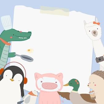 Animais fofos com papel branco em branco