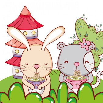 Animais fofos com sushi kawaii