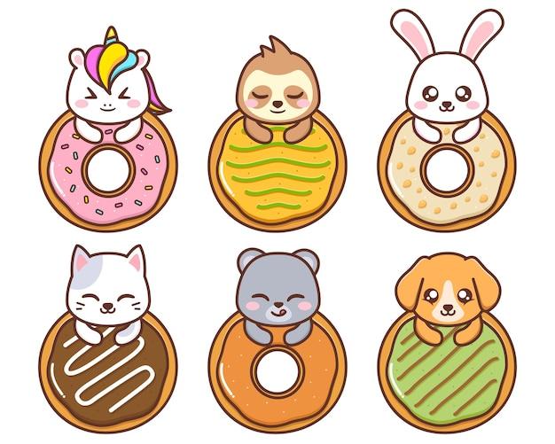 Animais fofos com vários donuts
