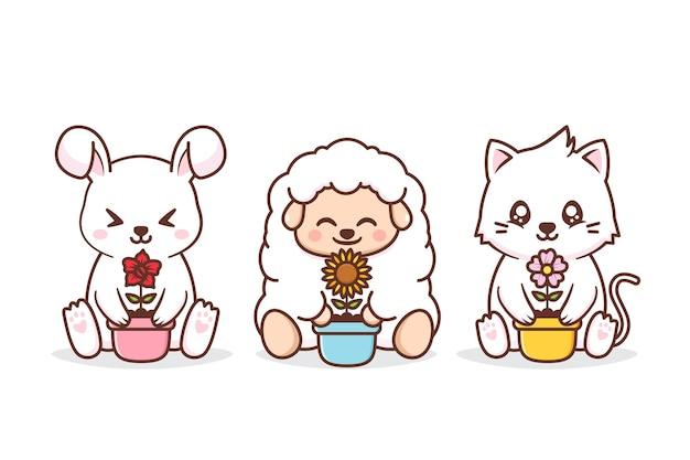 Animais fofos com vaso de flores