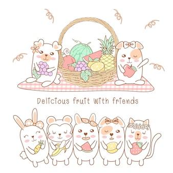 Animais fofos comem deliciosas frutas com amigos