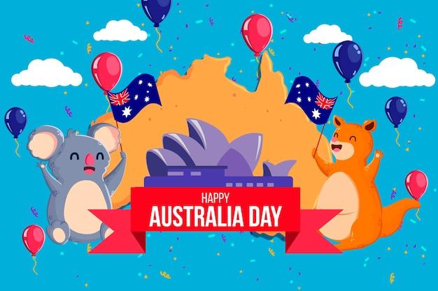 Animais fofos comemorando o dia da austrália