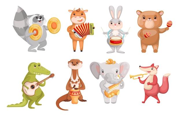 Animais fofos criativos tocando conjunto de instrumentos musicais