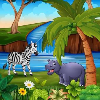 Animais fofos curtindo a natureza à beira do rio