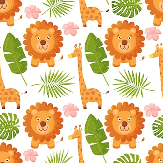 Animais fofos da selva com fundo sem costura em folha de palmeira