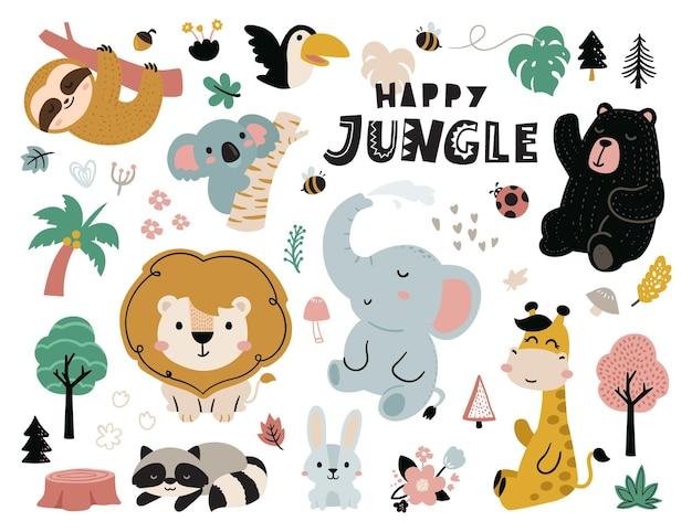 Animais fofos da selva feliz