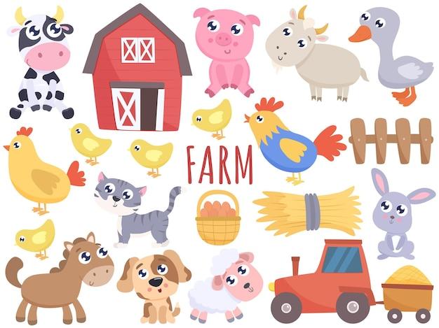 Animais fofos de desenho de fazenda