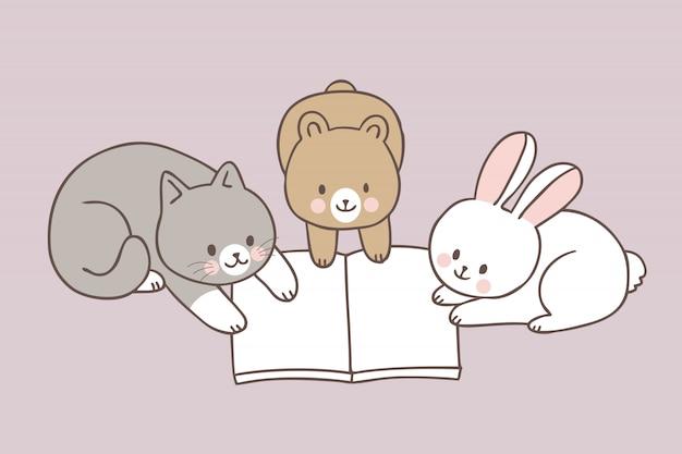 Animais fofos de desenhos animados, lendo um livro