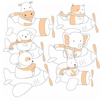 Animais fofos de handdrawn e cartoon de avião