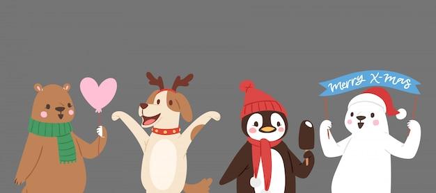 Animais fofos de natal