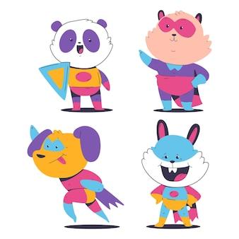Animais fofos de super-heróis no manto e máscara conjunto de desenhos animados de vetor isolado em um fundo branco.