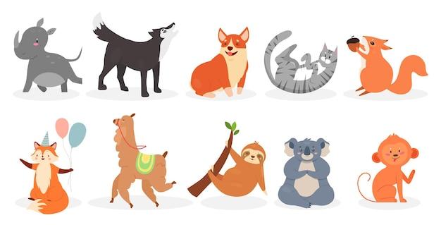 Animais fofos definem coleção isolada de animais domésticos e personagens de zoológico ou animais selvagens