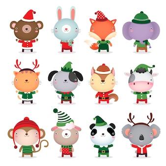 Animais fofos desenham com fantasias temáticas de natal e inverno
