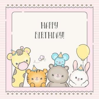 Animais fofos desenhos animados cartão de aniversário desenhado à mão