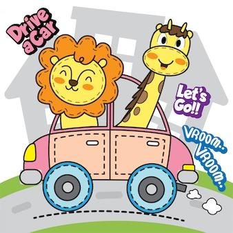 Animais fofos dirigindo carro
