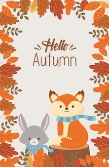 Animais fofos dizendo olá temporada de outono