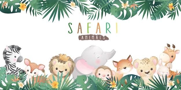 Animais fofos do safari de doodle com ilustração floral