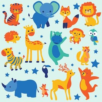 Animais fofos dos desenhos animados