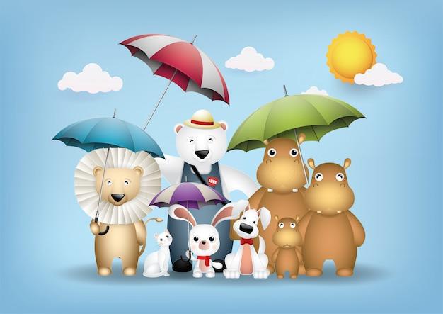 Animais fofos e guarda-chuvas coloridos