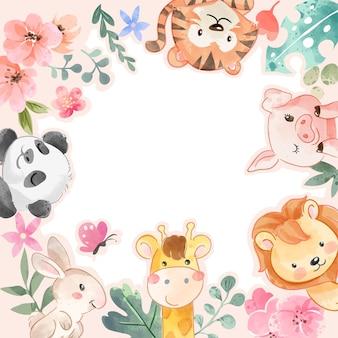 Animais fofos e quadro de flores coloridas com ilustração de espaço em branco