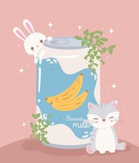 Animais fofos e refrigerante
