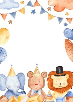 Animais fofos em aquarela em uma festa