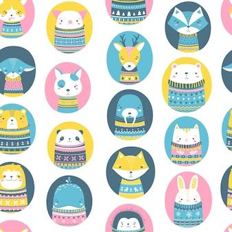 Animais fofos em blusas feias. mão desenhada padrão sem emenda no estilo escandinavo dos desenhos animados. paleta colorida.