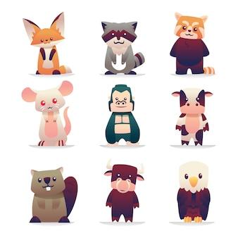 Animais fofos em pé conjunto de coleta para crianças