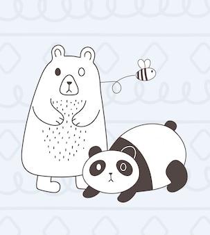 Animais fofos esboçar urso panda adorável dos desenhos animados e abelha voadora