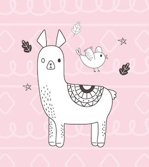 Animais fofos esboço dos desenhos animados adorável alpaca pássaro folhagem folhas