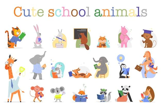 Animais fofos estudando na escola, conjunto engraçado zoológico de animais selvagens ou pássaros segurando um livro para ler