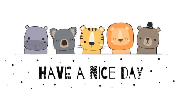 Animais fofos hipopótamo coala tigre leão ursinho saudação desenhos animados doodle papel de parede