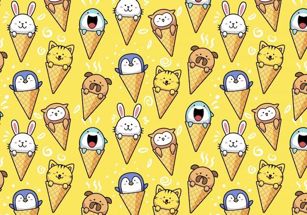 Animais fofos kawaii em casquinha de sorvete