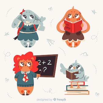 Animais fofos lendo livros na escola