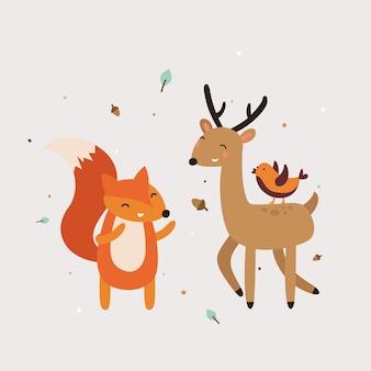 Animais fofos melhor ilustração vetorial de amigo
