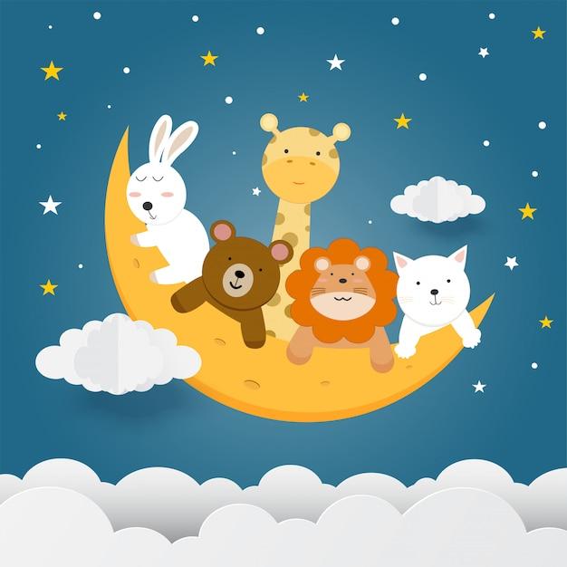 Animais fofos na lua.