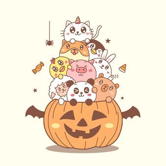 Animais fofos na mão dos desenhos animados de abóbora desenhados para o dia de halloween.