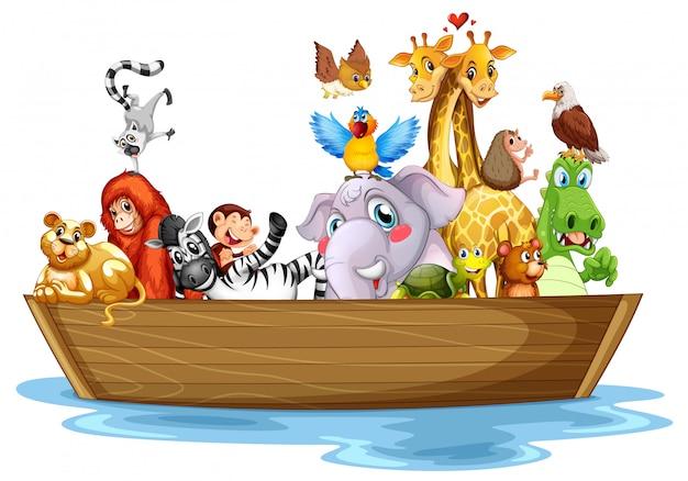 Animais fofos no barco