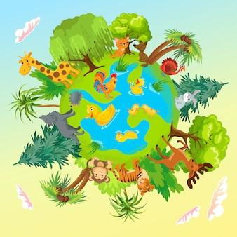 Animais fofos no planeta. proteção da terra.