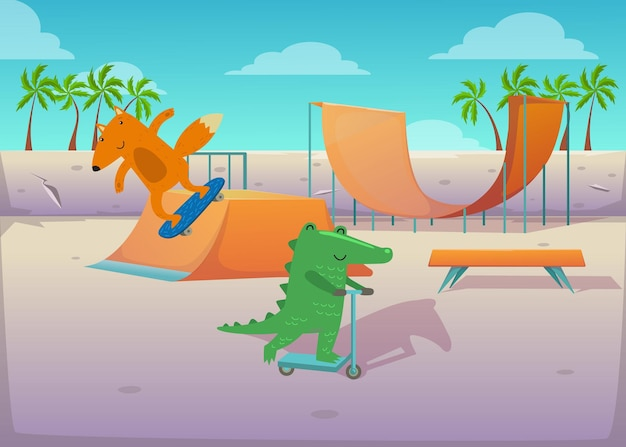 Animais fofos no transporte na ilustração do parque de skate.