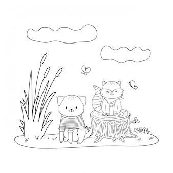 Animais fofos nos personagens da floresta de campo